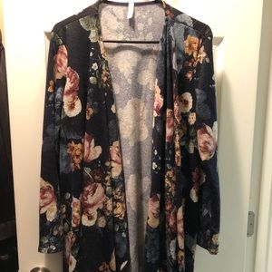 Pinkblush Navy Blue Floral Draped Knit Cardigan
